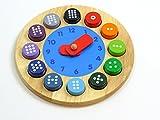 Unbekannt Lern- und Fühluhr aus Holz / Zahlenaufdruck von 1 - 12 + 12 Runden Zahlbausteinen / Ø 23,5 cm / Gewicht: 600 g / 3+