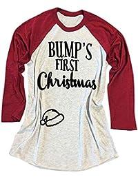 Vin beauty wlgreatsp Bump Primera Navidad Letras Impresas Moda Camiseta Camisetas de Manga Larga