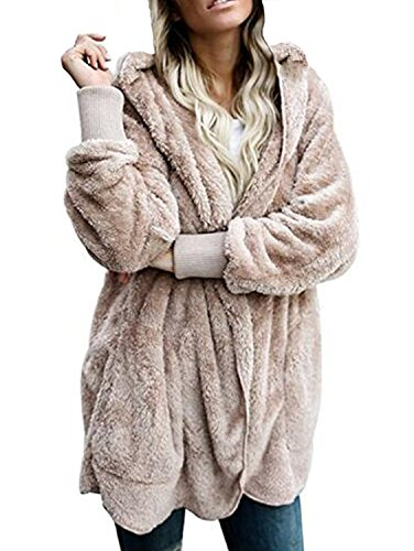 Shallgood Damen Teddy-Fleece Mantel Kapuzenjacke Baggy Parka Trench Coat Wärme Outwear Khaki DE 44