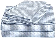 Amazon Basics Bettwäsche-Set aus gebürsteter Perkal-Baumwolle, Kingsize, gestreift