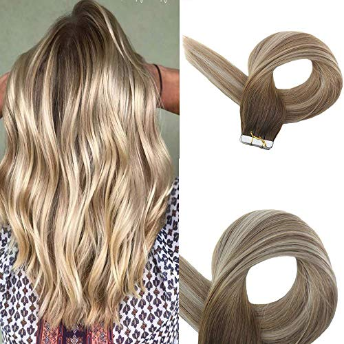 EasyouthBand In Ombre Haar 50g 16 Zoll Farbe #3 Dunkleres Braun Lila Fading To #8 Aschbraun Fading To #22 Mittlere Blondine Skin Weft Glue In Extensions Skin Weft Hair Extensions