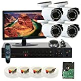 GW Security Inc 4CHP2 4 Channel H.264 960H & D1 Realtime DVR with 4 x Outdoor 650 TV lines 3.6mm Lens Security Camera System, Free LED Monitor (White/Black)