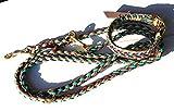 Viva Nature Handgemachtes Hunde-Halsband MIT Leine im Set/verstellbar 35-42 cm \ Paracord-PP-Flechtleine/Geflochten / Hund (Bordeaux Gold rostfrei Messing)