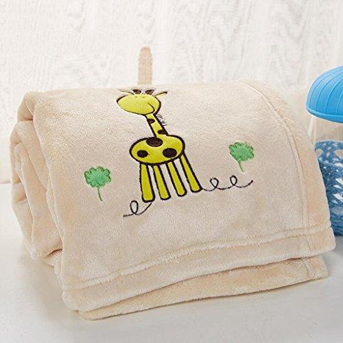 YAOHAOHAO Milch gelbe Giraffe Pattern Babydecke Decke Polyester Material Winter Kindergarten Konzipiert für Baby (100*150cm)