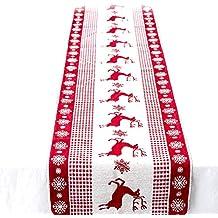 Chytaii Bandera de Mesa Triángulo Navidad Rojo Mantel Navidad Pascua Tela Mantel de Mesa Antimanchas Rectángulo