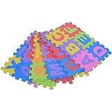 Juego de almohadillas de espuma flexible de bolsa de letras y números de Jigsaw puzzle alfombra 36pcs niños letras / sac 15*15cm (15*15cm)