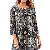 DEELIN Camicetta Donna Elegante t-Shirt Donna Taglia Grossa O-Collo Folk-Custom Busto Stampato Nastri Superiore Top Donna