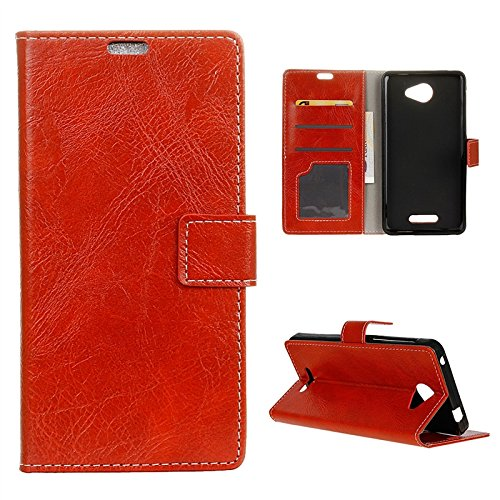 Moonmini Alcatel OneTouch Pop 4S Hülle, reg; Rot PU Leder Flip Bookstyle Brieftasche Karte Slot Holder Tasche Case Handyhülle Schutz LederHülle mit Magnetverschluss für Alcatel OneTouch Pop 4S