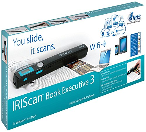 I.R.I.S. IRIScan Book Executive 3 - Escáner de documentos (900dpi, sensor CIS, 216 x 355 mm, 24 bit), negro y cian