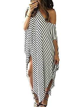 Abito Irregolare Donna Vestiti a Righe Lungo Vestito Monospalla Elegante Abiti da Spiaggia Strisce Bianche e Nere...