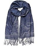 Caripe eleganter großer Damen Schal Stola XXL Hals-Tuch Blumen Paisley Muster - stol99 (14WJ - blau)