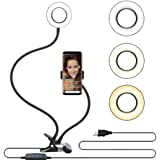 Phone Holder Metal Desktop Stand With Selfie Ring Light Fill Light, Black
