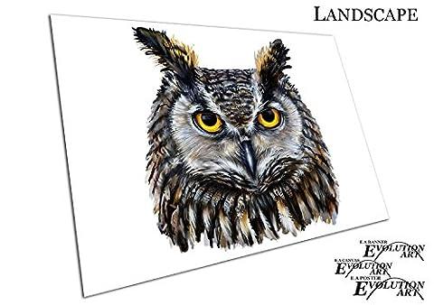 Illustration Art braun Eagle Eule orange gelb Augen, A4 - RUB