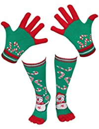 1 x Geschenk Set 'Weihnachten' Handschuhe & Socken in grün mit Motiv Schneemann
