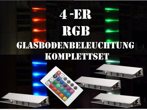 60 mm LED 4-er RGB-Glasbodenbeleuchtung-Komplett-Set +Trafo+RGB-Controller+Fernbedienung