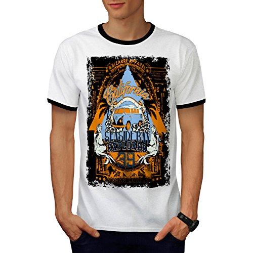 Strand Strand Kalifornien Bucht Kleider Herren S Ringer T-shirt | Wellcoda (Hawaii-shirt Bucht)