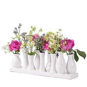 Keramikvasenset Blumenvase Keramikvasen bunt/weiß Vase Blumen Pflanzen Keramik Set Deko Dekoration (10 Vasen, weiß)