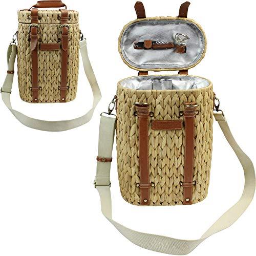 HappyPicnic Seagrass Wine Basket-Kühler für 2 Flaschen, Picknick-Weinhalter für Doppelflaschen mit Schultergurt MEHRWEG