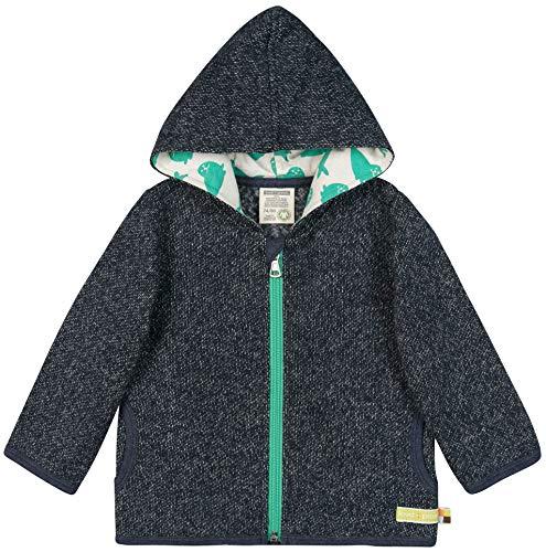 loud + proud Unisex Baby Jacke In Melange Strick Aus Bio Baumwolle, GOTS Zertifiziert Sweatjacke, Blau (Midnight Mi), 92 (Herstellergröße: 86/92)