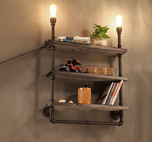 Unbekannt Retro Eisen Kunst Doppel-Kopf Wand Lampe Café Korridor kreative Bücherregal Holz Bord Wasser Rohr Wand Lampe -