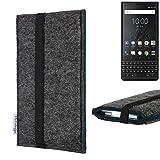 flat.design Handyhülle Lagoa für BlackBerry KEY2 (Dual-SIM) | Farbe: anthrazit/blau | Smartphone-Tasche aus Filz | Handy Schutzhülle| Handytasche Made in Germany