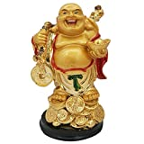 GRAND JHAIJI Laughing Buddha with Back Potli & Money Coin for Health, Wealth and Happiness (6.5 cm x 11 cm x 6.5 cm)