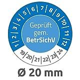 Avery Zweckform 6967 Prüfplaketten (120 Prüfaufkleber aus Vinyl, Geprüft gem. BetrSichV, 2019-2024, Ø 20 mm, im praktischen Block) blau