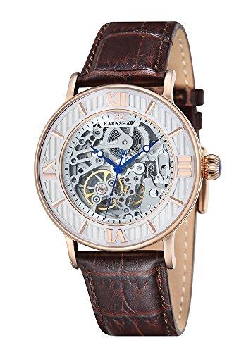 Thomas Earnshaw ES-8038-03 - Reloj para hombre con esfera analógica de color blanco y correa de cuero marrón