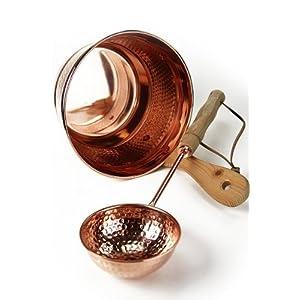CopperGarden' kupferner Saunaeimer, handgearbeitet mit Schöpfkelle – Schwalleimer aus Kupfer