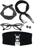 Zhanmai Set di Accessori per Costumi Anni '50 Include Sciarpa Fascia Orecchini da Gatto Occhiali da Vista Cinturino per Donne Ragazze Festa Fornitura (Colore Set 1)