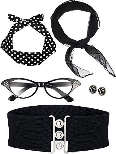 Schmuck 1950 Kostüm - Zhanmai 50 Jahre Kostüm Zubehör Set Enthält Schal Stirnband Ohrringe Katzen Auge Brille Bund für Damen Mädchen Party Lieferungen (Farbe Satz 1)