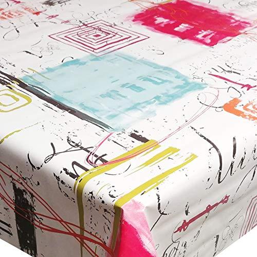DecoHomeTextil d-c-fix Wachstuch Wachstischdecke Tischdecke Gartentischdecke Lesley Türkis Pink Beige Breite & Länge wählbar 110 x 160 cm Eckig abwaschbar Lebensmittelecht