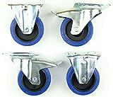 1 Satz 100mm Blue Wheels Lenkrollen FS mit Bremse + Bockrollen 180kg/Rad - INDUSTIREQALITÄT