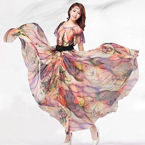 medeshe de femmes d'été en mousseline de soie floral longue Maxi robe Demoiselle d'Honneur robe d'été Multicolore - Multicolore