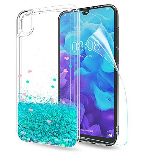 LeYi Hülle Huawei Y5 2019 Glitzer Handyhülle mit HD Folie Schutzfolie,Cover TPU Bumper Silikon Flüssigkeit Treibsand Clear Schutzhülle für Case Huawei Y5 2019 / Honor 8S Handy Hüllen ZX Turquoise