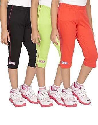 OCEAN RACE Women's Stylish attarctive colors Cotton Capris(3/4 th Pant)-Pack of 3-15177-XS
