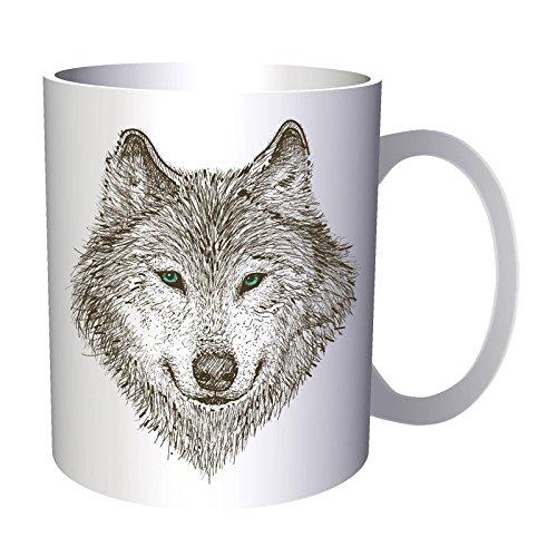 Regalo hermoso de la cara del lobo animal 330 ml taza e301