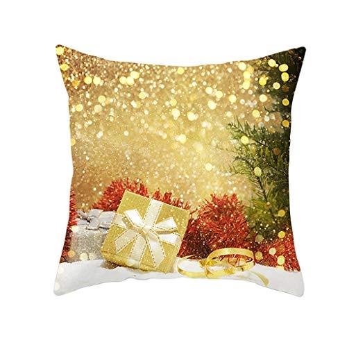 Huacat Kissenbezug Gold Weihnachten Pfirsich Wildleder Kissenbezug Weihnachten Dekorative Leinen-Optik Kissenbezug Kissenhülle Kissenbezüge Weihnachtskissenbezüge für Sofa