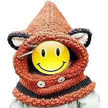Malloom® Otoño Invierno Niños Niñas tejidos de lana Zorro Sombreros Bufandas Chales capucha gorra (naranja)
