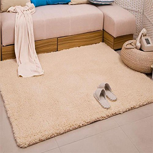Teppich Home Maschine Waschbar Langes Haar Wohnzimmer Bett Bett Vorne Badezimmer Küche Treppe Rechteck Solid Color Anti-Rutsch-Teppich , 80 X 120 Cm , Beige (Beige Tattoo-stuhl)