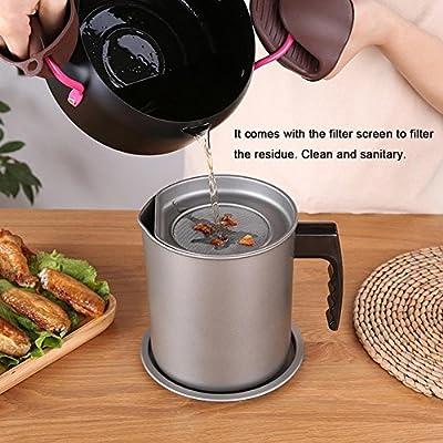 Waroomss Filtre à huile pot, cuisine filtre à huile pot friture filtre écran tamis étanche huileur bouteille d'huile de ménage réservoir filtre pot avec filtre et couvercle