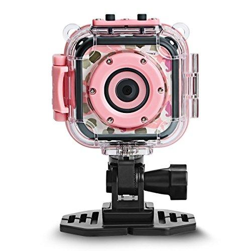 DROGRACE Digitalkamera Kinderkamera Video Kamera Wasserdicht Action Cam Unterwasserkamera Helmkamera Einsteigerkamera für Kinder Geburtstagsgeschenk Urlaubsbegleiter mit 1.77 Zoll Bildschirm - Pink