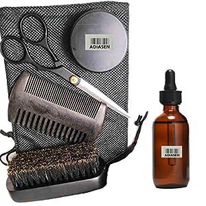 ADIASEN 30g Bartcreme, 30g Bartöl, Bartbürstenschere Kamm-Zubehör-Sets für Männer