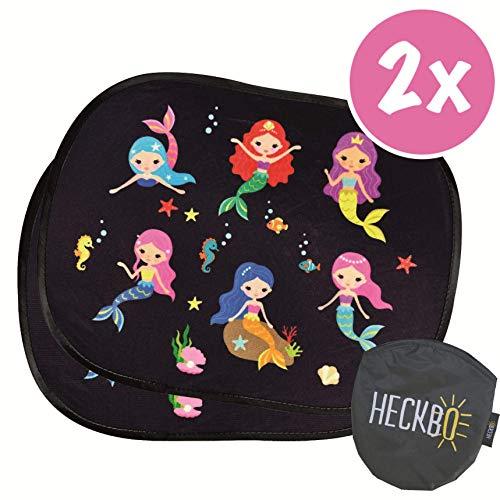 HECKBO® - 2x universal selbsthaftende Auto-Sonnenblende für Mädchen, Kinder & Baby - ohne Saugnäpfe - Autosonnenschutz - Motiv: Meerjungfrau Mermaid. 44x36cm, Sonnenschutz Autosonnenblende + Tasche