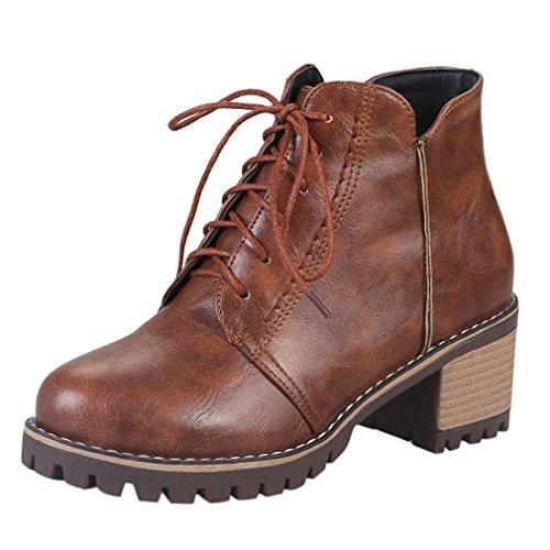 ENMAYER Womens Casual Round toe Lace up Block Heel Bottines Chaussures Mid Heel Court Chaussures Mid Heel Court Marron#G3