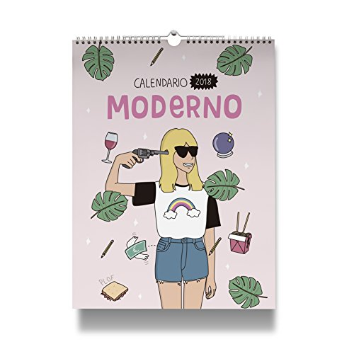Moderna de Pueblo. Calendario pared 2018