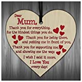 Gifts for Mum,I Love You Everyday Wooden Hanging Heart Mothers Gift Cute Mums Sign Best Mother Gift for Mummy Birthday Present from Daughter