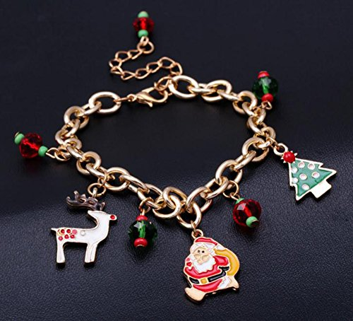 Hosaire 1x Weihnachten Armband Mode Weihnachtsbaum/Weihnachtsmann Anhänger Armbänder Weihnachtsdeko Schmuck Bracelet Zubehör Armreifen