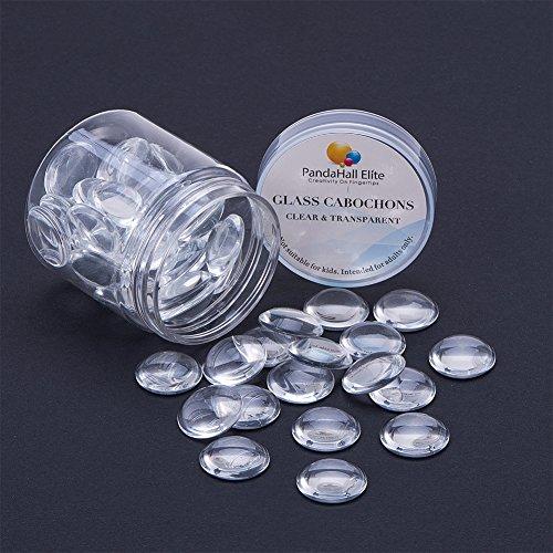 pandahall Elite Flat halbrund Transparent Dome Glass Cabochons Durchmesser in 18mm Fuer Foto Basteln Schmuck Machen ca. 40~50 STK/Kasten
