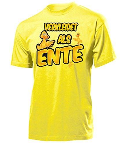 Ente 4914 Karneval Fasching Tier Kostüm Motto Party Tier Herren T-Shirt Paar Gruppen Outfit Klamotten Oberteil Faschings Karnevals Gelb XL -